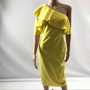 Asos Women's Size 6 Yellow Bodycon Midi Dress